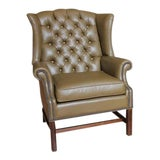 Image of 1920s American Library Tufted Leather Wing Chair For Sale