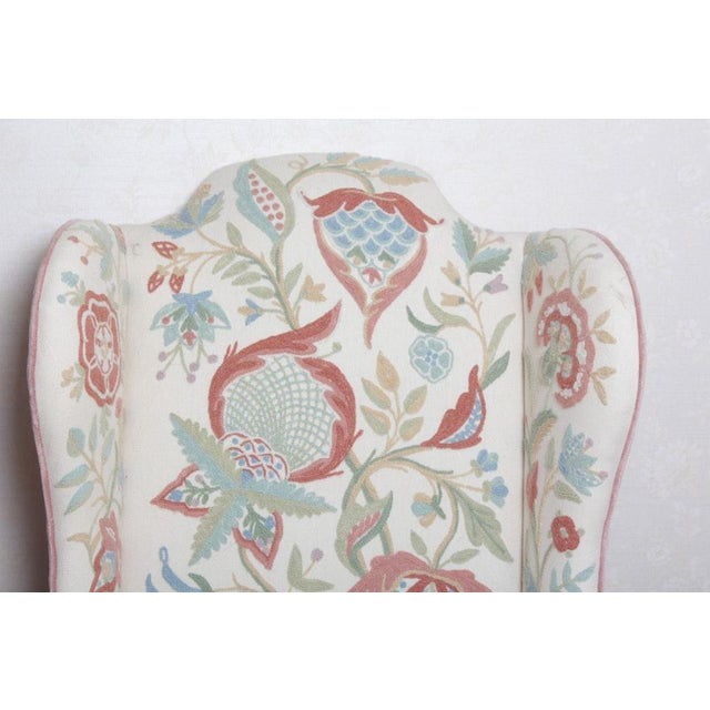 Blue Vintage Woodmark Original Crewel Embroidered Wingback Chair For Sale - Image 8 of 11