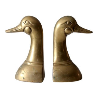 Mid-Century Brass Duck Bookends Pair For Sale