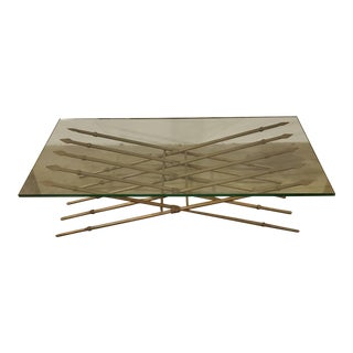 1960s Maitland-Smith Ten Spear Metal Base Coffee Table With Original Glass Top For Sale