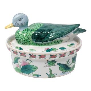 Ceramic Duck and Lotuses Bowl For Sale