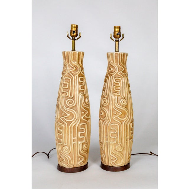 Tall Mid-Century High Relief Carved Tan Pottery Lamps - a Pair For Sale - Image 11 of 11