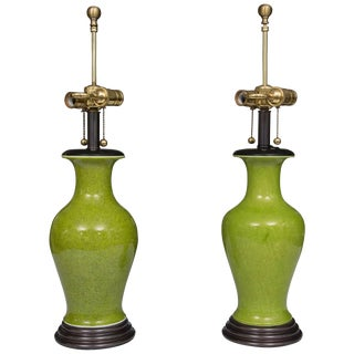 Acid Green Baluster Shaped Table Lamps - a Pair For Sale