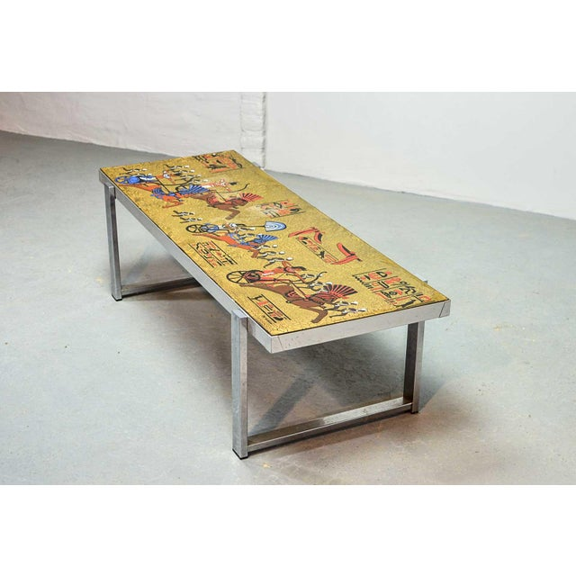 Artistic Mid-Century Belgium Design Egyptian Decorated Coffee Table by De Nisco, 1970s For Sale - Image 4 of 10