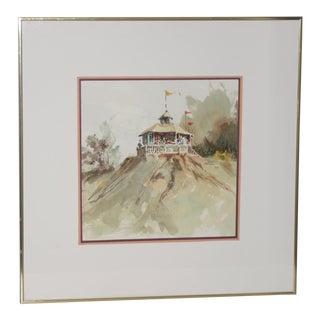 "Jake Lee (1915-1991) Original Watercolor ""Bandstand on the Bluff"" C.1989 For Sale"
