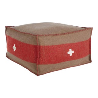 "Swiss Army Pouf, 24""X24""X13"", Brown/Red For Sale"