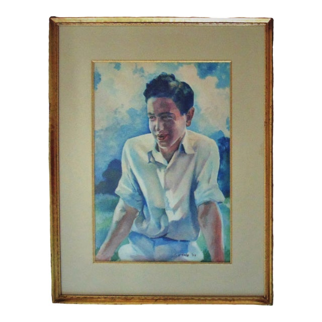 Vintage Mid-Century Watercolor Young Man Portrait Painting For Sale