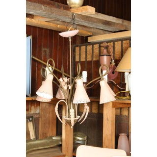 Mid-Century Modern Brass and Pink Painted Metal Chandelier Preview