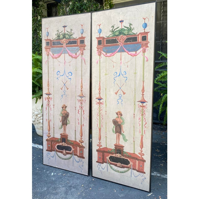 Italian Vintage Handpainted Tromp l'Oeil Neoclassical Panels - a Pair For Sale - Image 3 of 7