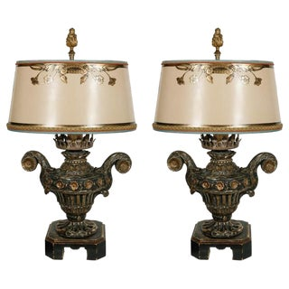 18th C. Italian Giltwood Urn Lamps - a Pair For Sale