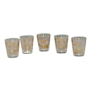 Vintage Gold Gilt Floral With Vines Hand Painted Shot Glasses - Set of 5 For Sale