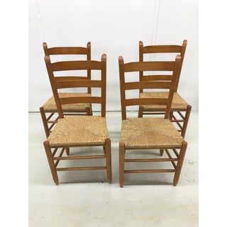 Vintage French Gio Ponti Style Ladder Back Rush Seat Dining Chairs - Set of 4 Preview
