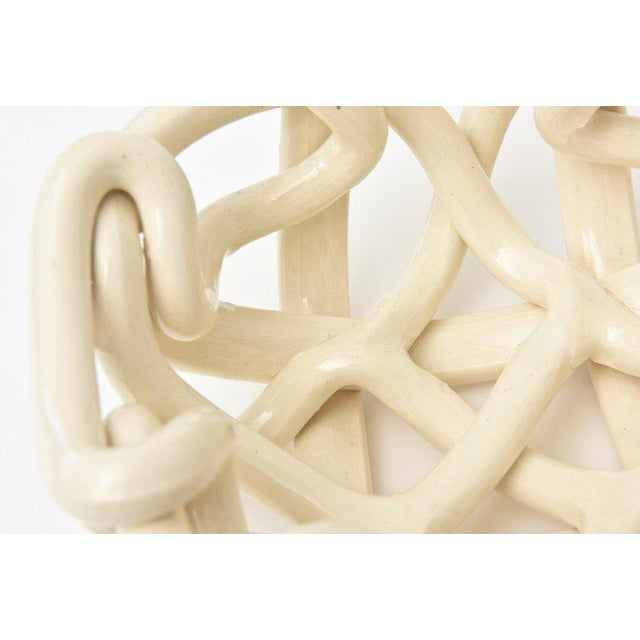 White Twisted Coiled Ceramic Sculptural Bowl For Sale - Image 8 of 11
