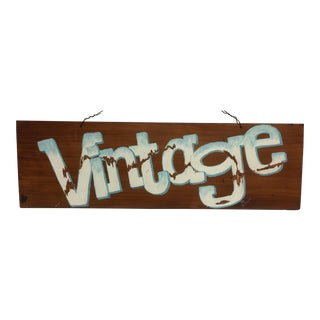 VINTAGE Hand Painted Folk Art Sign by Michael Toupe For Sale