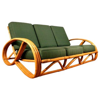 Restored Round Pretzel Arm Rattan Sofa For Sale