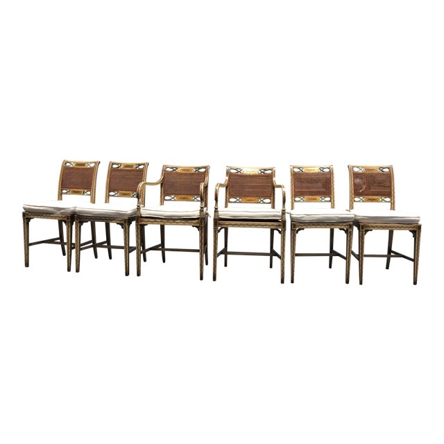 1920s French Country Wicker Dining Chairs - Set of 6 For Sale