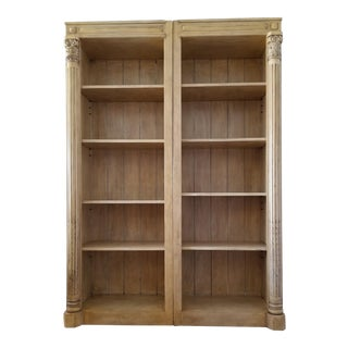 Classical Open Library Bookcases - A Pair