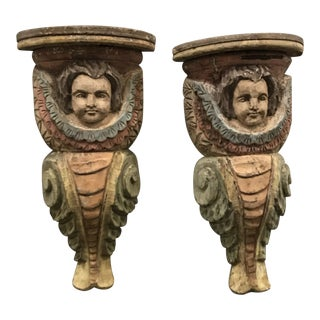 Antique Hand-Carved Cherub Corbels - a Pair For Sale
