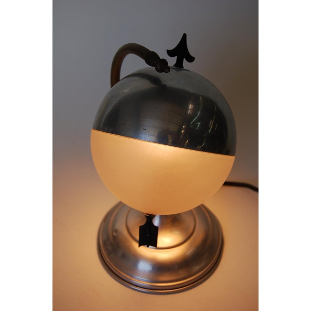 "Art Deco Aluminum Globe ""Saturn"" Swiveling Table Lamp For Sale In Los Angeles - Image 6 of 8"