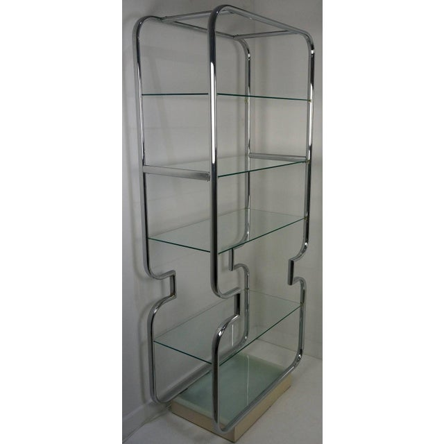 1970s Mid-Century Modern Polished Chrome and Glass Etageres - a Pair For Sale - Image 5 of 11