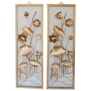 Vintage Gold Tone Metal Art Wall Hangings - A Pair