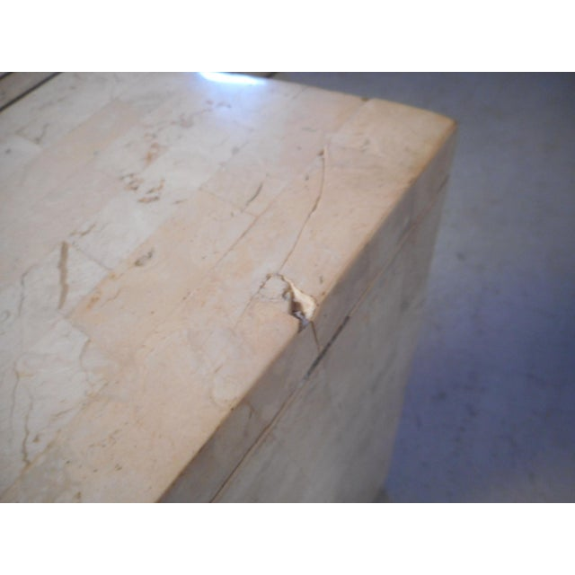 Vintage Modern Tessellated Marble and Glass Hall Table After Maitland-Smith For Sale - Image 11 of 12