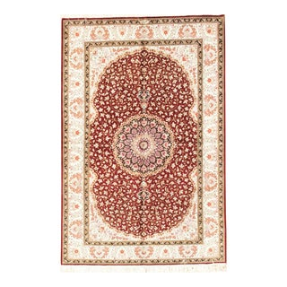 "Pasargad Home Qum Collection Silk Area Rug-4' 2"" X 6' 3"" For Sale"