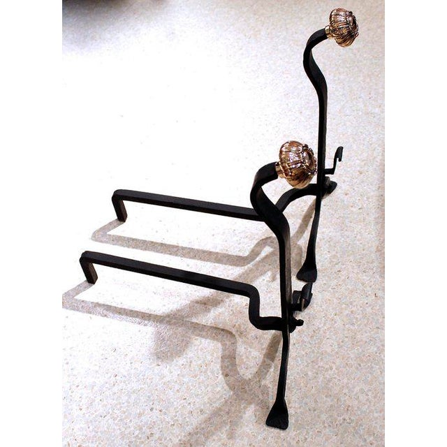 19th Century Wrought Iron and Bronze Art and Crafts Andirons - A Pair - Image 6 of 8