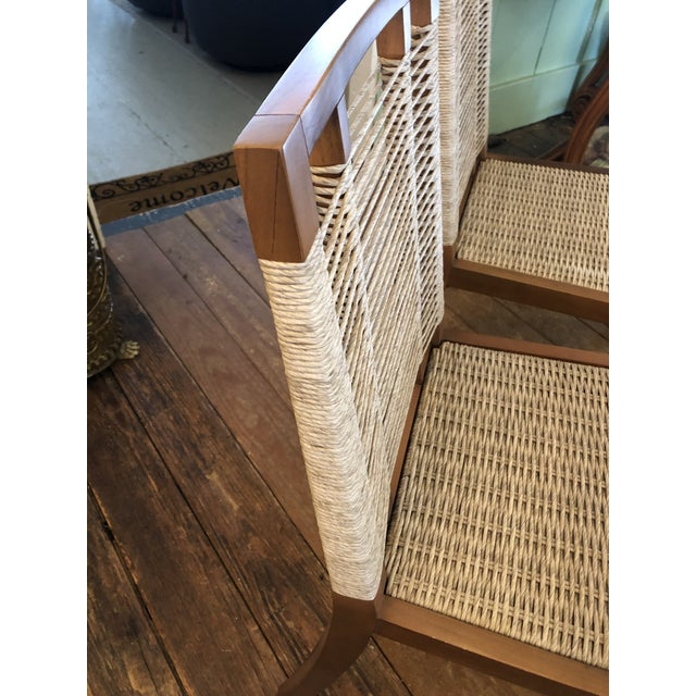 Organic Modern Pair of Raffia Rope & Teak Side Chairs -A Pair For Sale - Image 10 of 13