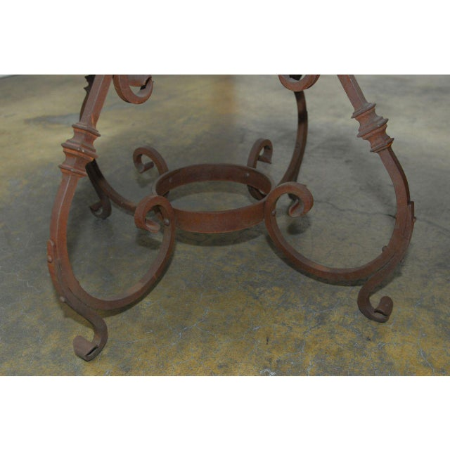 Brown Italian Oak & Scrolled Iron Round Dining Table For Sale - Image 8 of 9