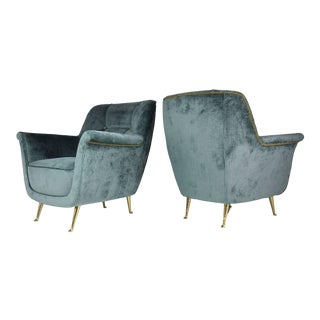 Pair of Italian Midcentury Armchairs by ISA Bergamo, 1950s For Sale