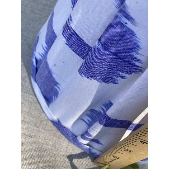 Contemporary Contemporary Pleated Blue and White Ikat Lampshade For Sale - Image 3 of 5