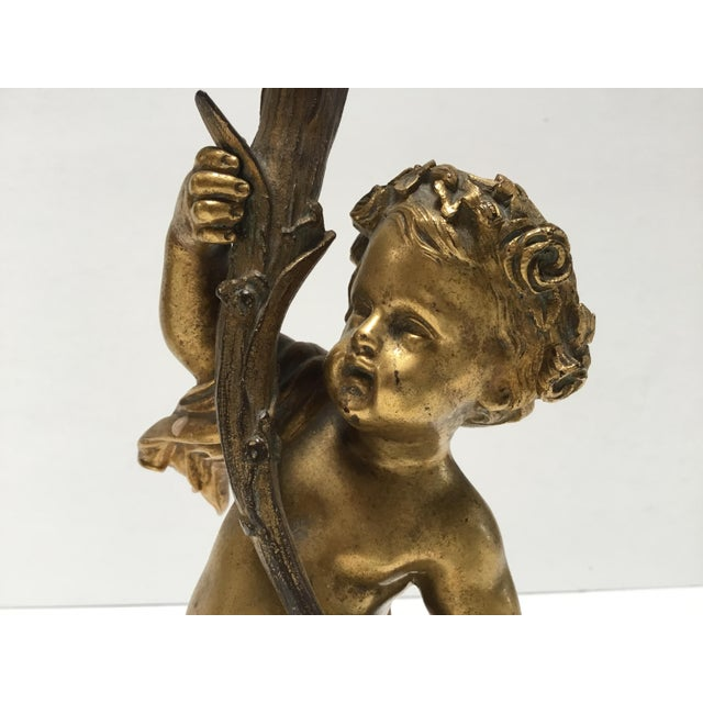 Early 19th Century Antique French Cherub Bronze Dore Candlesticks - a Pair For Sale - Image 5 of 6