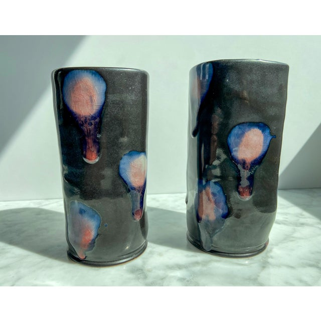 Late 20th Century Late 20th Century Signed Art Pottery Vases - A Pair For Sale - Image 5 of 5