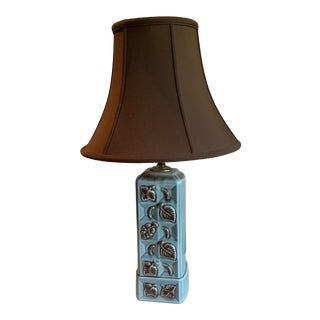 Mid-Century California Pottery Turquoise and Brown Leaf Design Ceramic Table Lamp For Sale