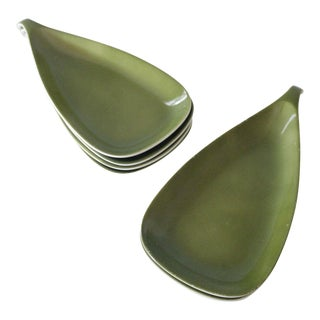 6 Lagardo Tackett Schmid Small Serving Dishes Porcelain Mid Century Modern Green White For Sale