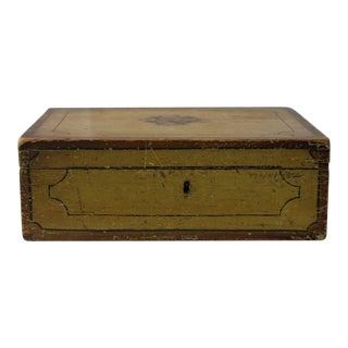 Mustard Yellow Painted Trinket Box, circa 1825, America