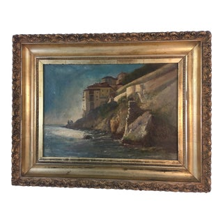 Antique Framed Shore Side Painting For Sale