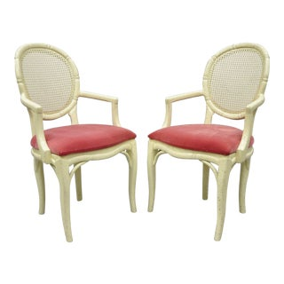 Pair French Hollywood Regency White Faux Bamboo Cane Back Arm Chairs- A Pair For Sale