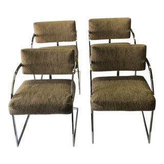 1970s Vintage Milo Baughman Chrome Arm Chairs- Set of 4 For Sale