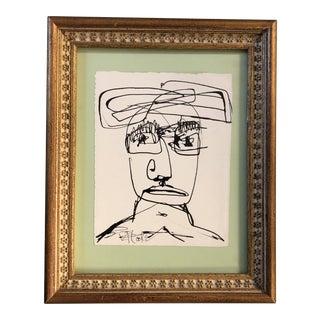 Original Vintage Robert Cooke Face Ink Drawing For Sale