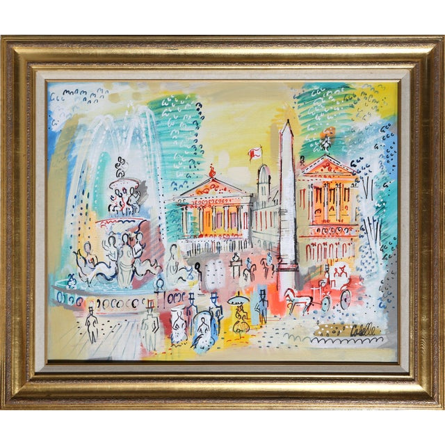 "Charles Cobelle, ""Paris Monuments With Fountains"", Cityscape Painting For Sale"