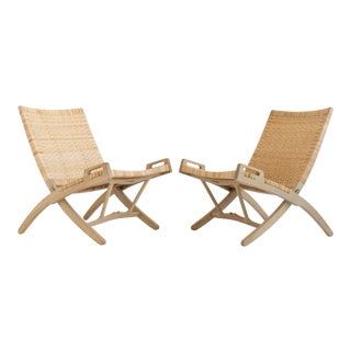 Pair of Oak and Cane Folding Lounge Chairs by Hans Wegner for PP Møbler For Sale