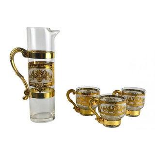 Italian Golden Pitcher & Three Mugs