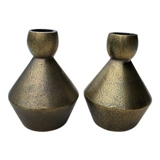 1970s Modern Brutalist Style Cast Brass Candle Holders - a Pair For Sale