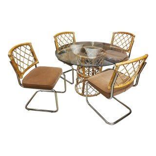 Unique Vintage Mid Century Modern Dining Room Set Table & Chrome and Rattan Chairs For Sale