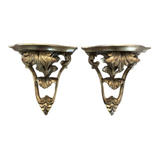 Gilt Wood Carved Decorative Wall Shelves - a Pair For Sale