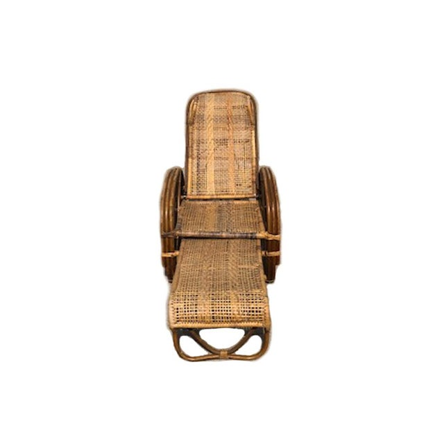 1920s Vintage Rattan Bamboo Reclining Chaise Lounge For Sale - Image 4 of 5