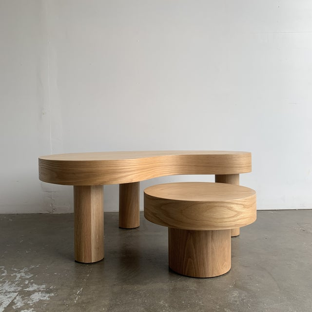 Wood 1980s Style Kidney Two Tiered Coffee Table - a Pair For Sale - Image 7 of 13