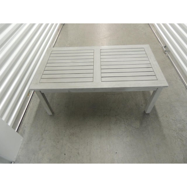 Outdoor Safavieh Weathered Finish Coffee Table. Rectangular shape with square legs. The legs are screw-on/easier to ship.